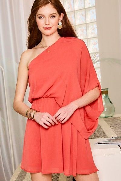 One Shoulder Coral Stunner Dress