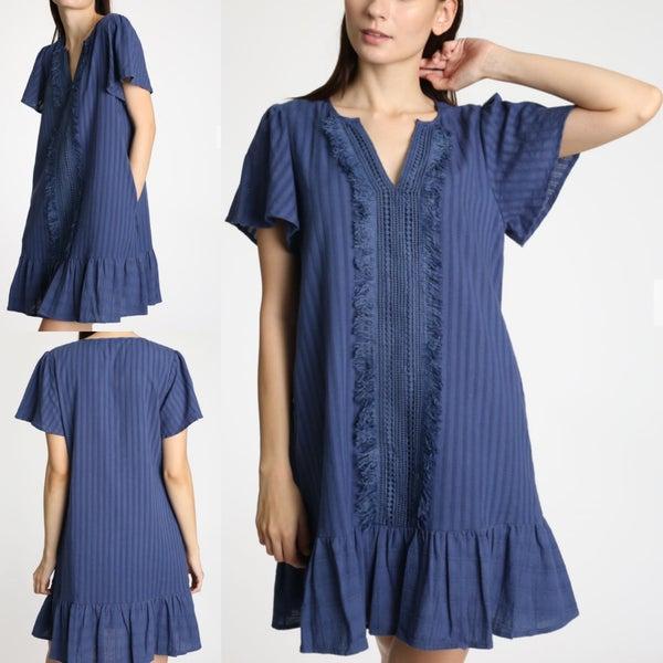 Fringe Detailed Shift Dress *Final Sale*