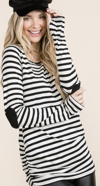 Heart Elbow Patch Striped Top