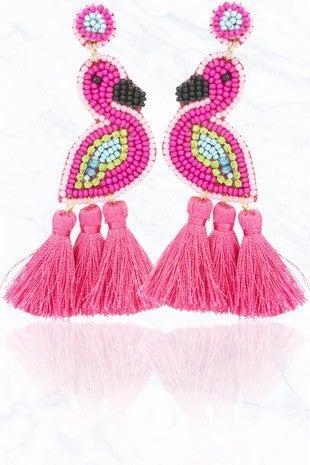 Beaded Flamingo Tassel Earrings