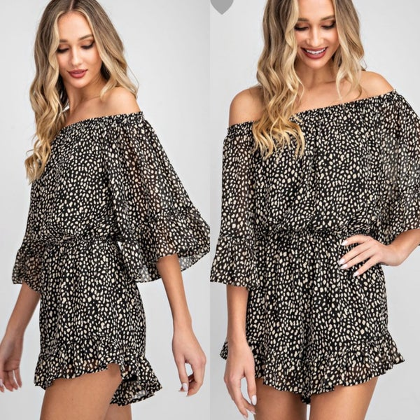 Animal Print Off the Shoulder Romper *Final Sale*