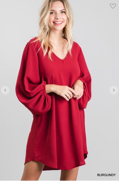 Balloon Sleeve Classic Dress