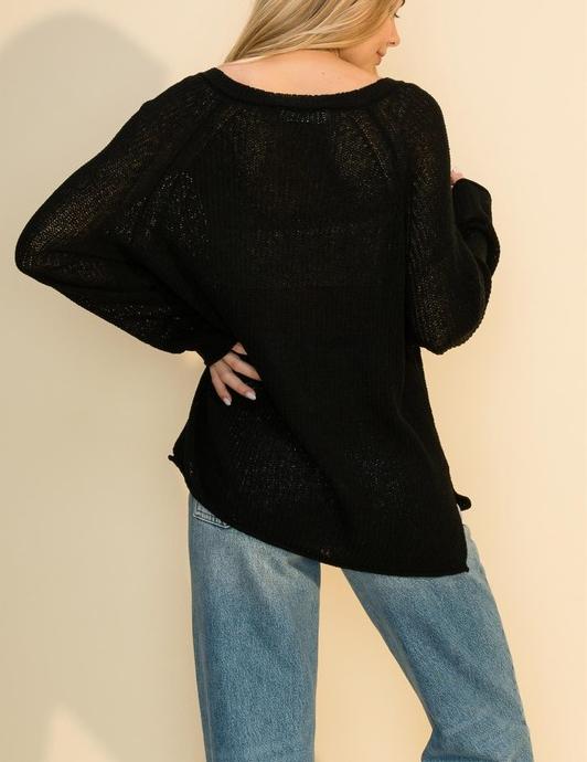 Peak Through Raglan Sleeved Sweater