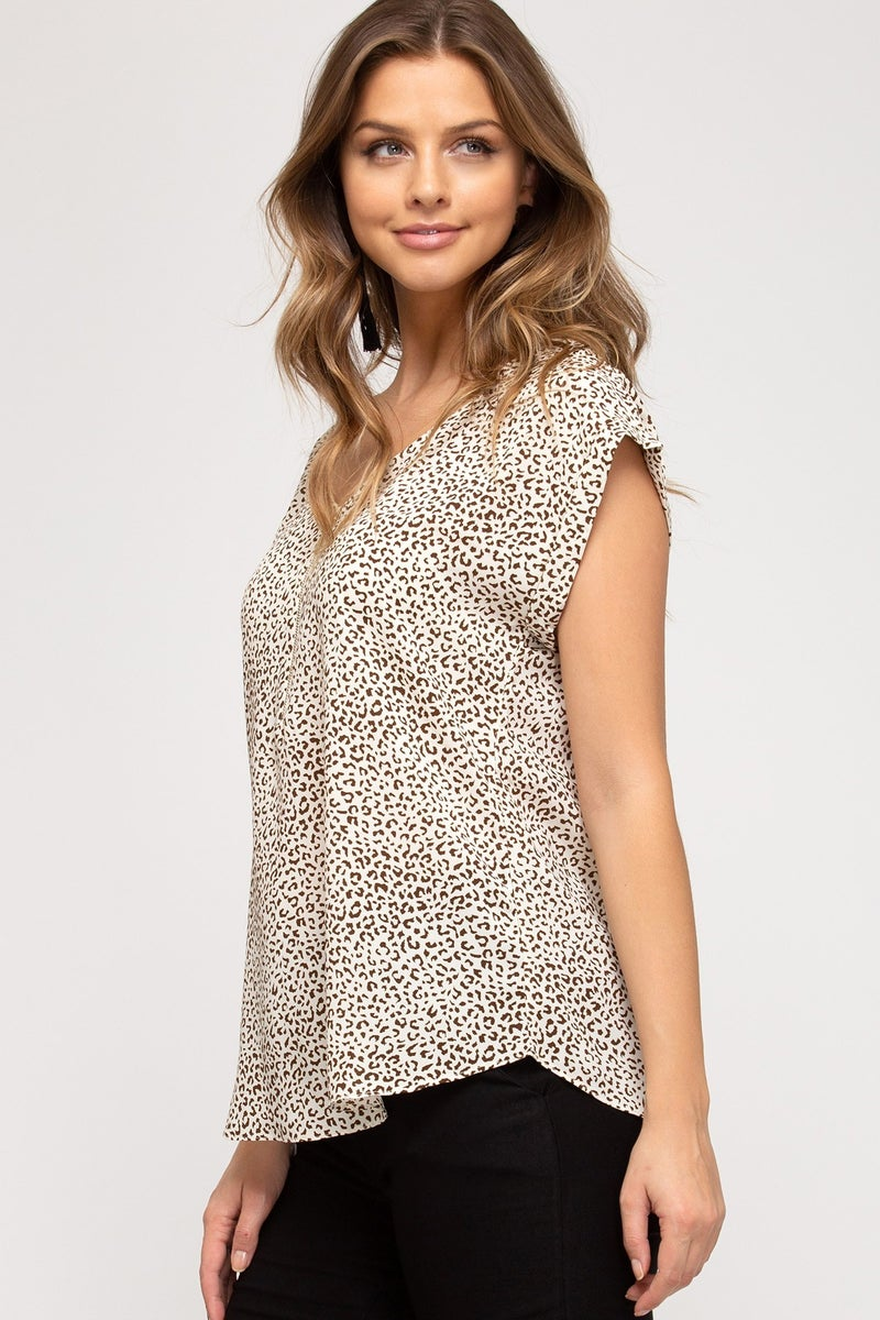 Cheetah Print Half Zip Top