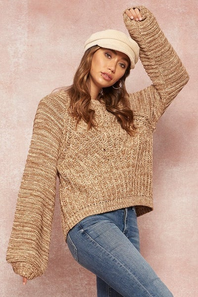 Two-Tone Cable Knit Bishop-Sleeve Sweater *Final Sale*