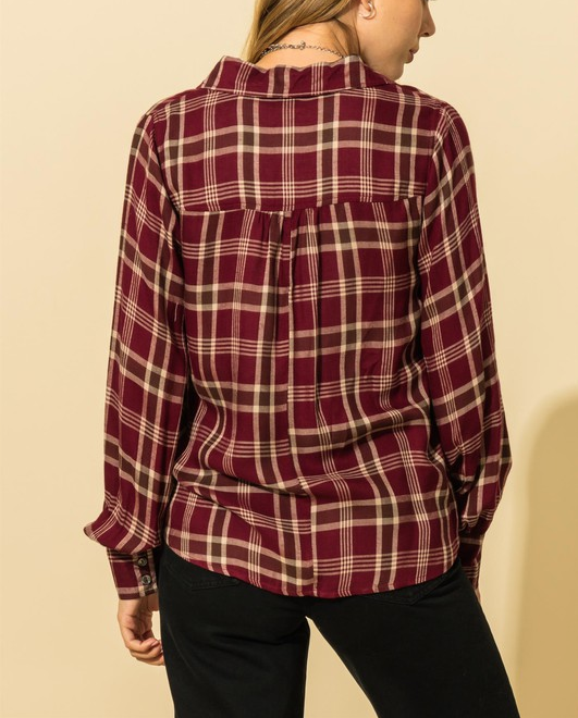 Puffed Long Sleeved Flannel (Color Options)