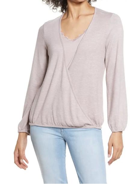 Lace Trim V Neck Sweater