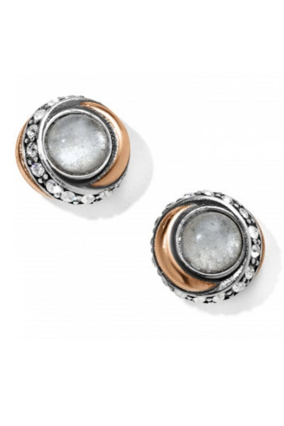 Neptune's Rings Crystal Button Earrings