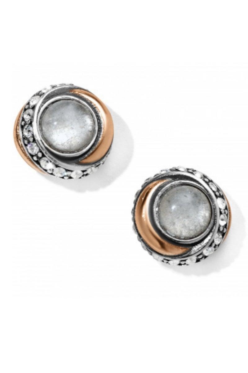 Neptune's Rings Crystal Button Earrings