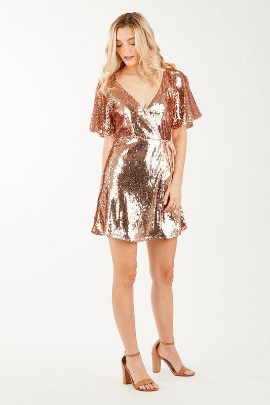 Sequin Wrap Dress *Final Sale*