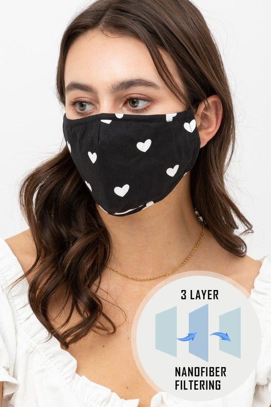 Heart Printed Face Mask *Final Sale*