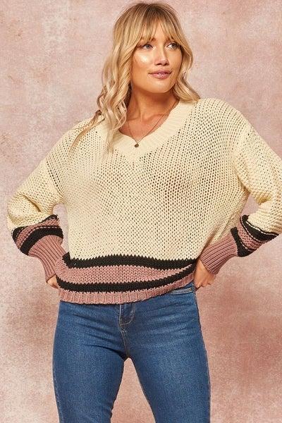 Crochet Knit Colorblock Stripe V-Neck Sweater *Final Sale*