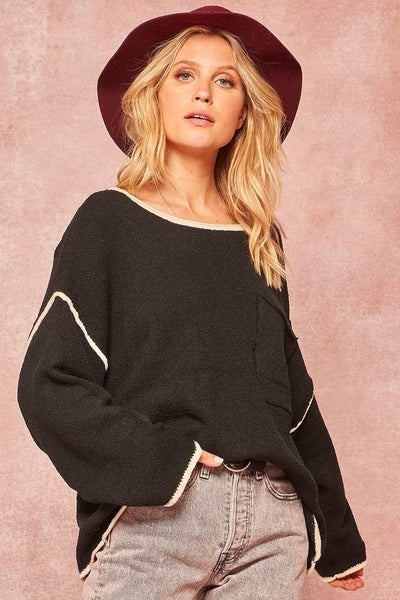 Textured Knit Exposed-Seam Oversize Pocket Sweater *Final Sale*