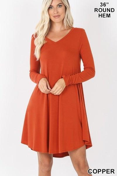 V-Neck T-Shirt Dress With Pockets *Final Sale*