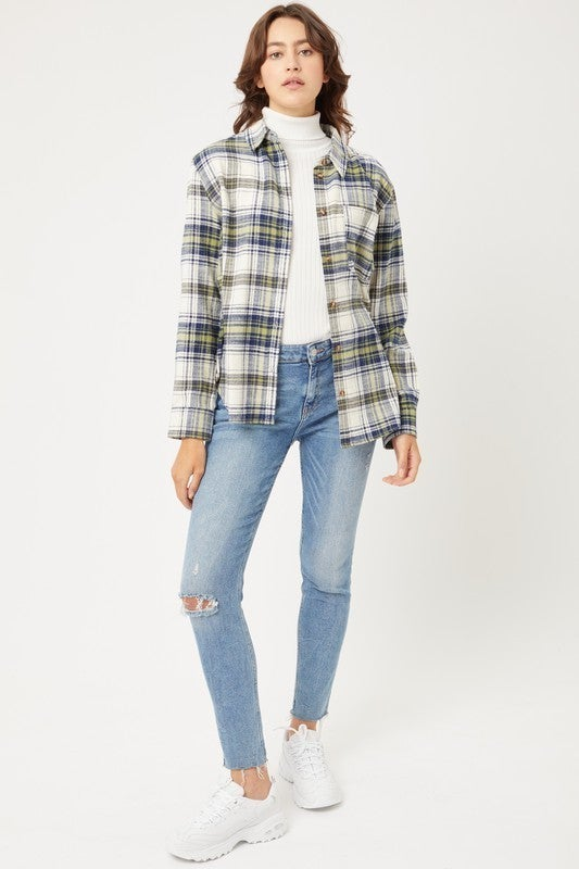 Plaid To Meet You Flannel Top (choice of 2 colors)