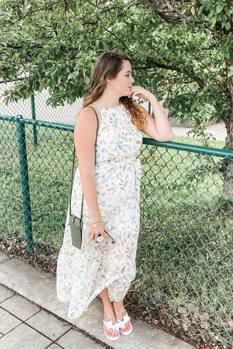 Leaves Of Summer Halter Dress
