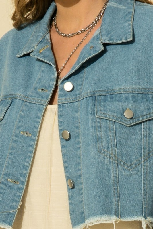 Oversized Cropped Denim Jacket