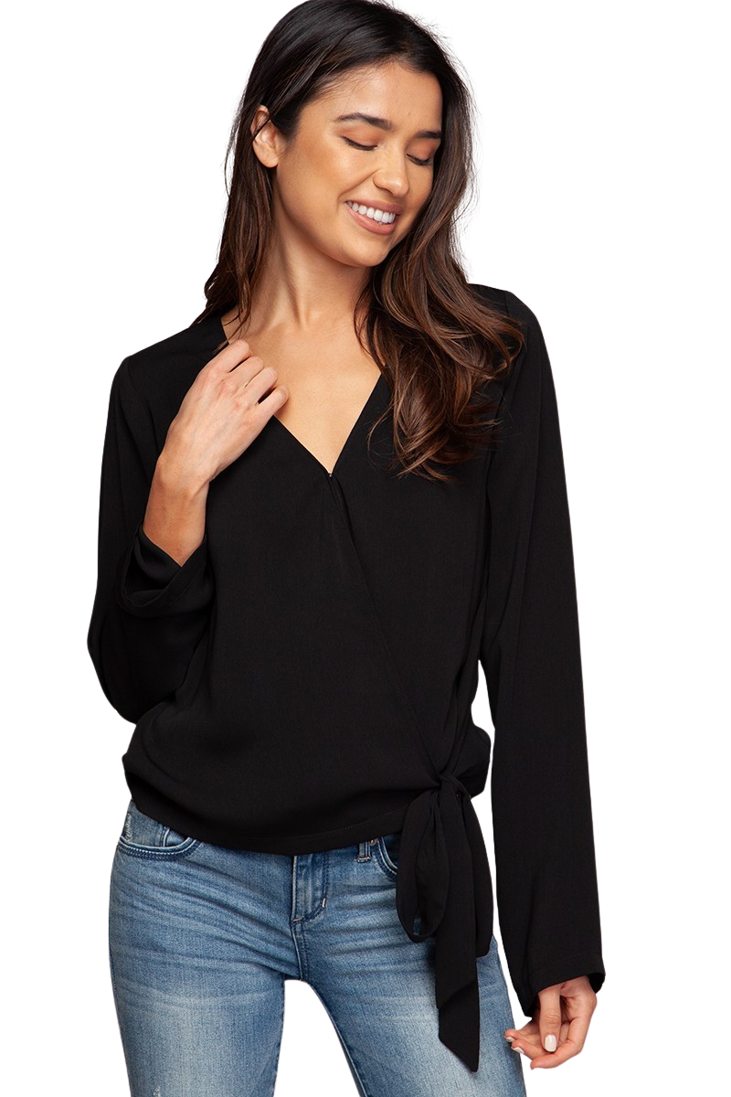 All The Feels Side Wrap Blouse Top