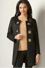 Black Faux Suede Coat *Final Sale*