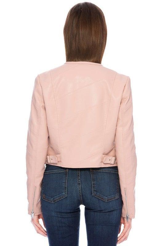 Scoop Neck Vegan Leather Jacket *Final Sale*
