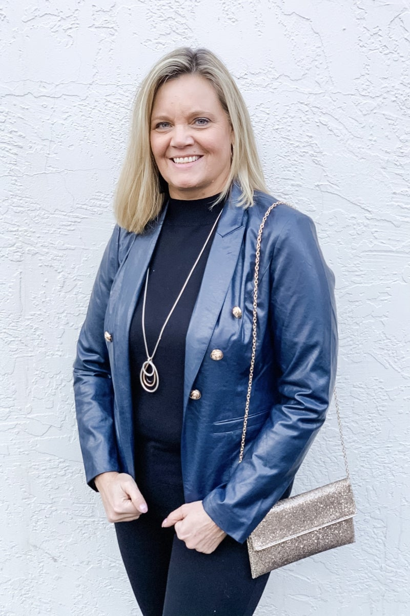 Ciana Faux Leather Blazer - Navy