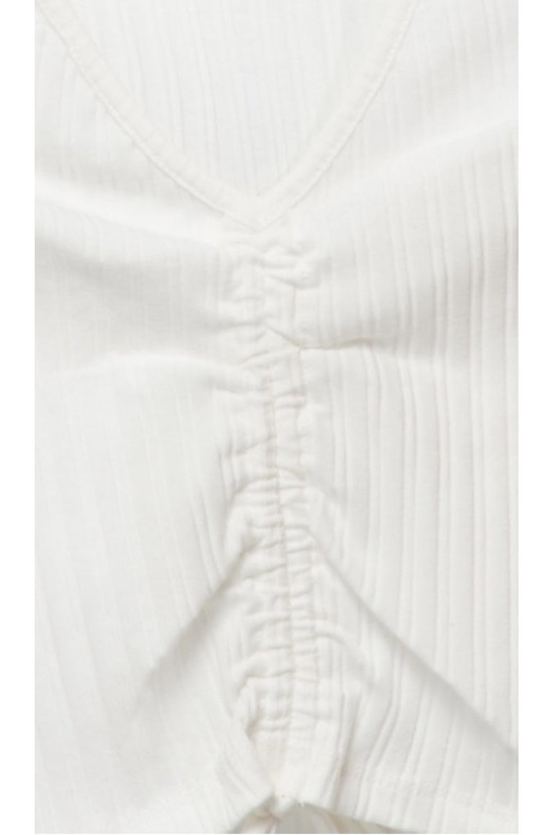 Gathered Together Crop Top - White