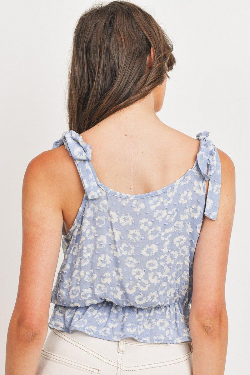 Blue Skies Ahead Floral Tie Shoulder Top