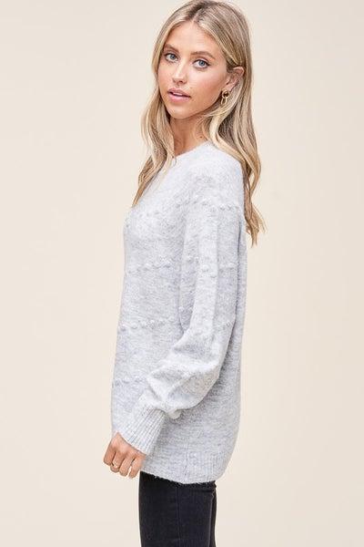 Crewneck Pom Pom Pullover Sweater
