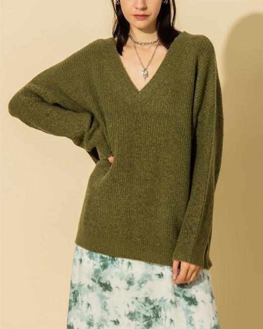 Simply Cozy V Neck Knit (Color Options)