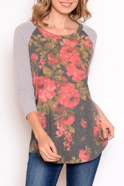 Floral Raglan With Elbow Patch *Final Sale*