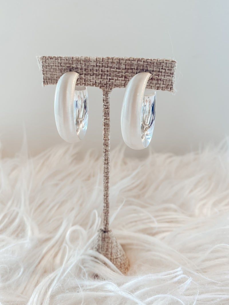 Brushed Hoops 1 1/2 inch - Silver