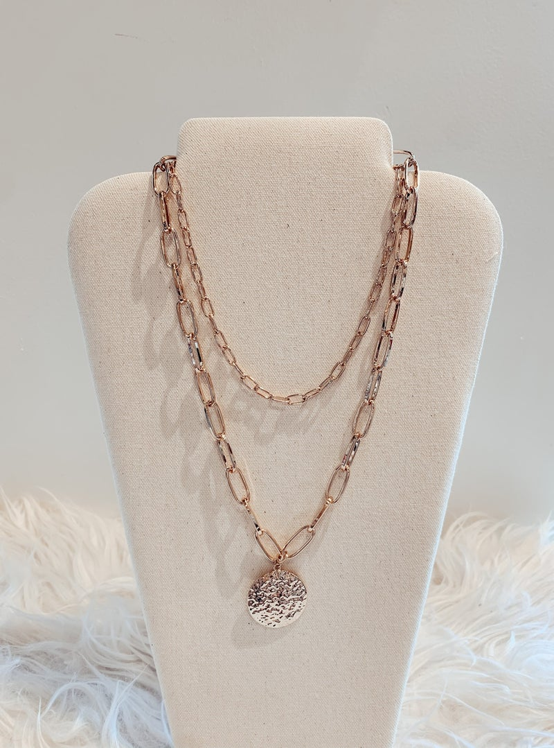 Gold Chains & Medallion Tiered Necklace