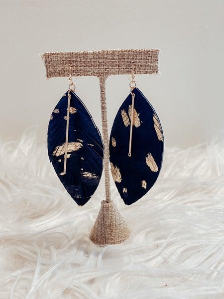 Black/Gold Faux Feather Earrings