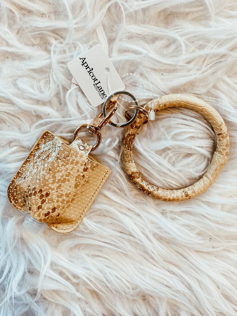 Wristlet Keychain with Sanitizer Bottle - Faux Gold Snakeskin