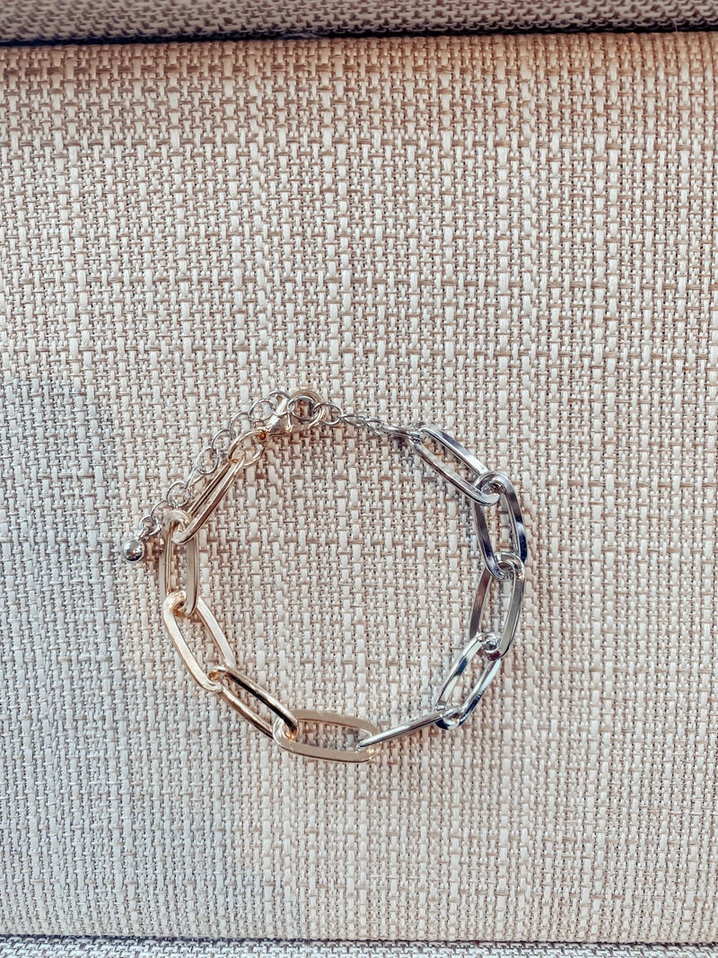 Two Toned Paperclip Chain Bracelet - Gold and Silver