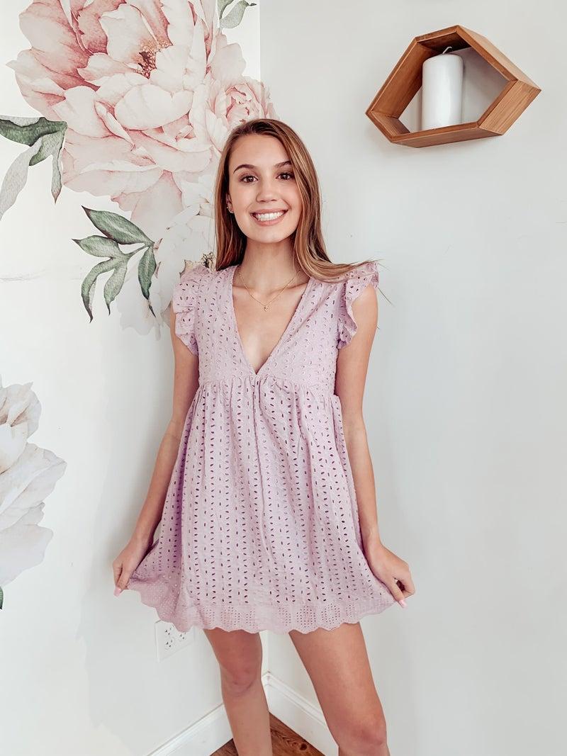 Lavender Frost Lace Dress