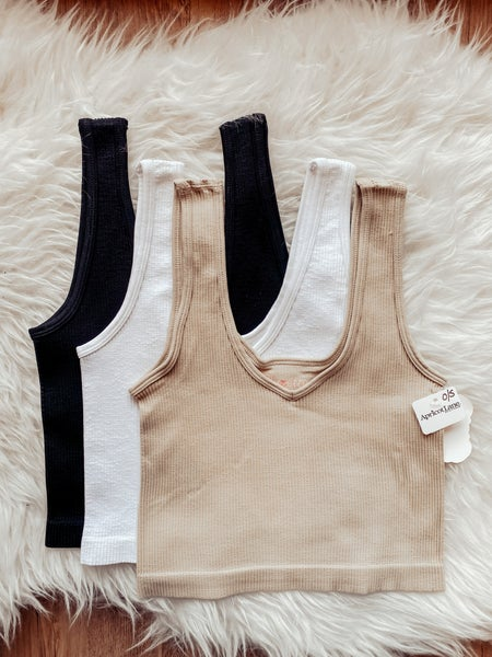 V-Neck Ribbed, Cropped Bralette/Tank