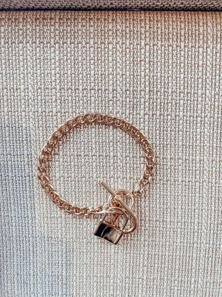 Gold Locket Toggle Bracelet