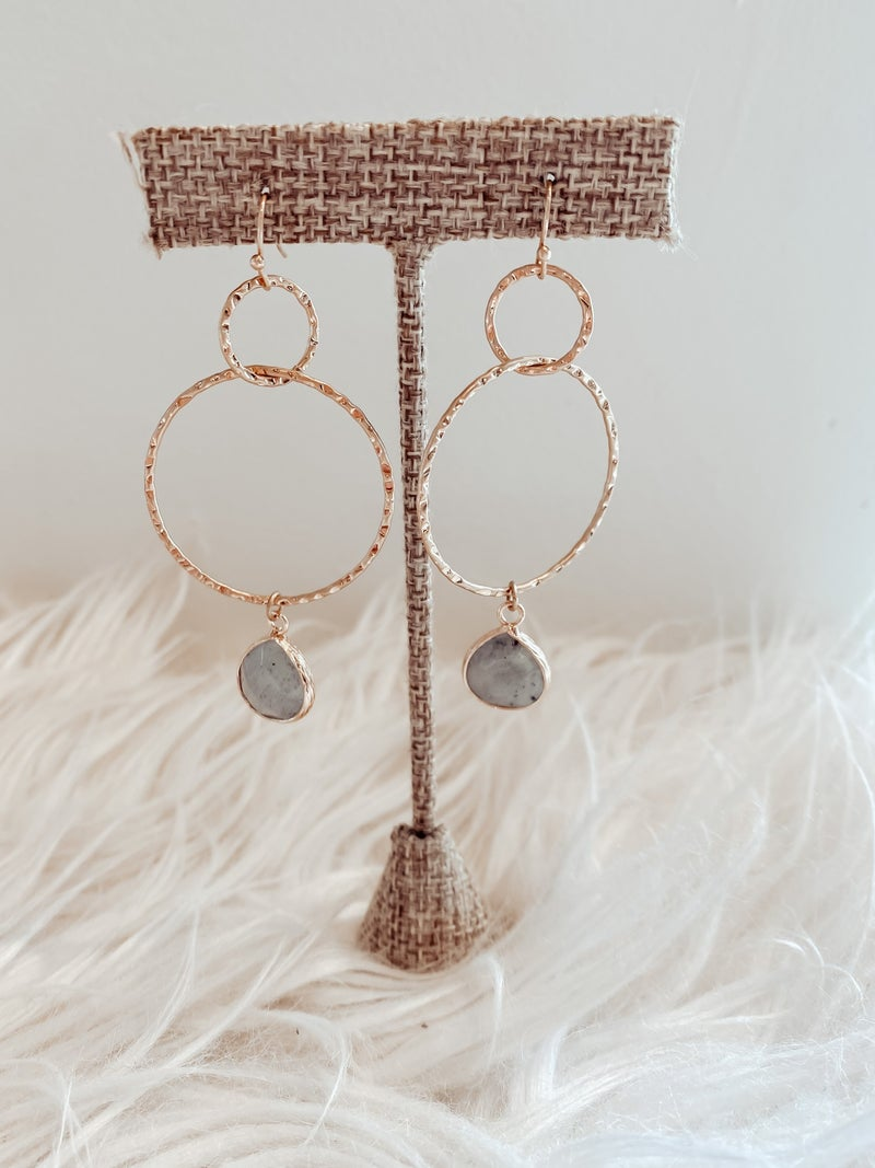 Gold Hammered Drop Earrings with Natural Stone
