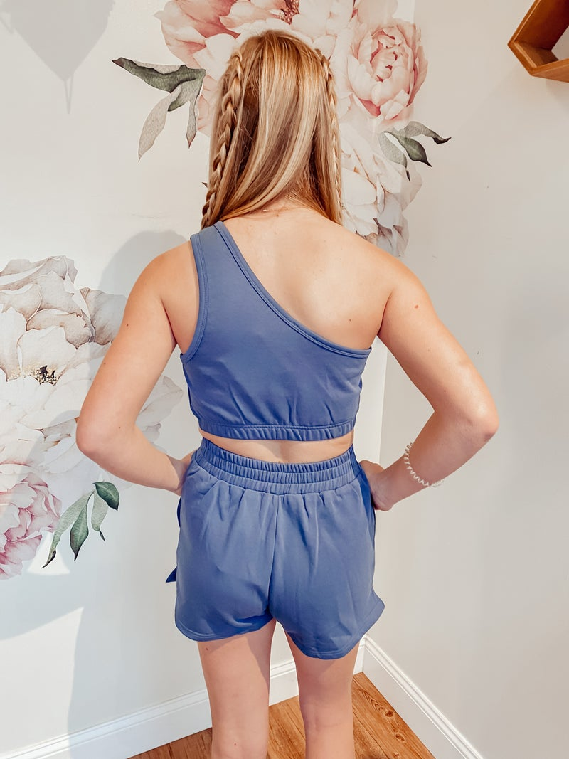 Stardust Blue Cropped One Shoulder Top