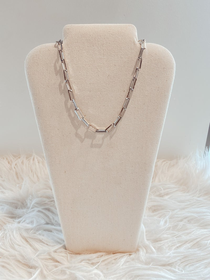 Rectangle Cable Chain Link Necklace - Silver