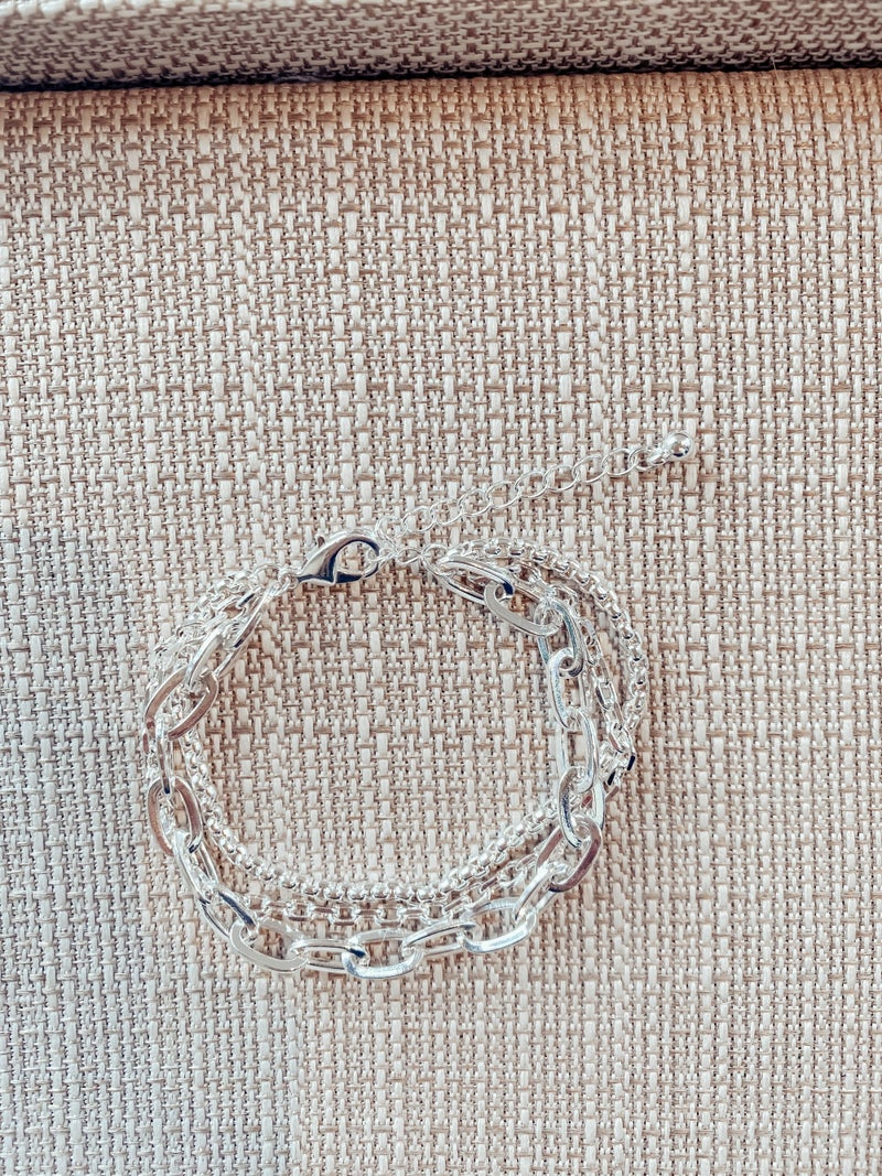 Triple Layered Paperclip Chain Bracelet - Silver