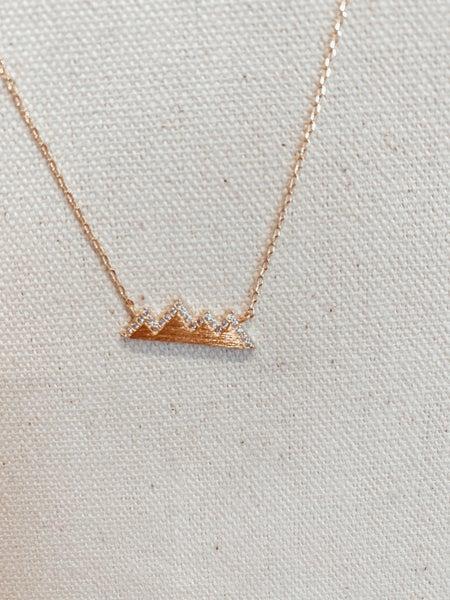 Mountain Range Necklace with Rhinestones