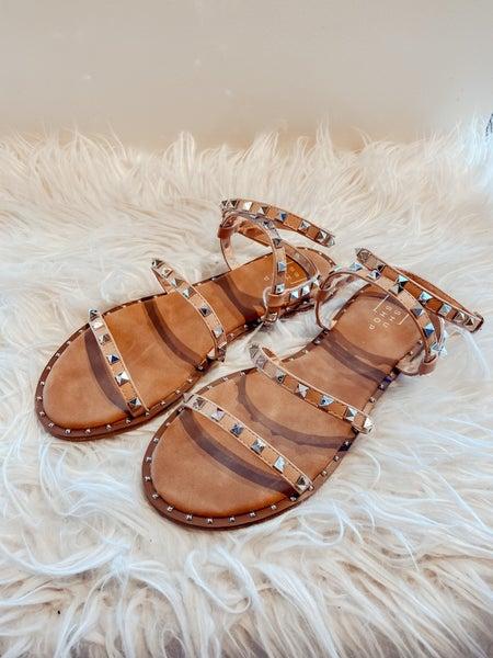 Studded Nude Gladiator Sandals