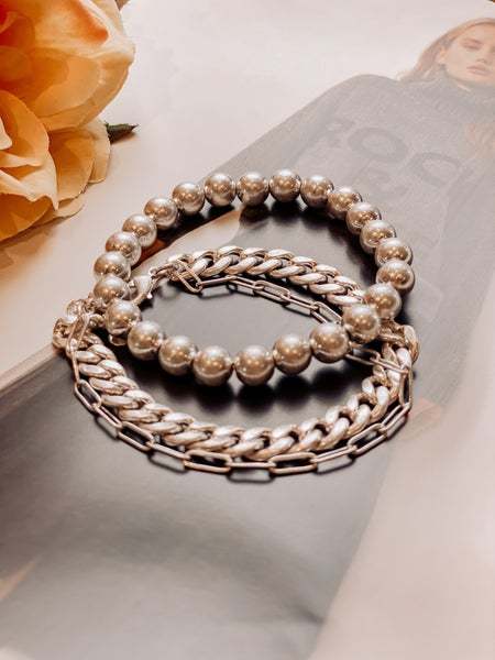 Chainz Three Bracelet Set -Silver