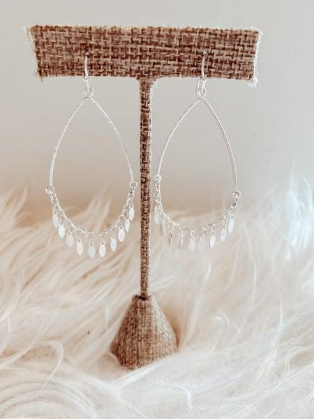 Silver Drop Dangle Earrings/Leaf Dangles