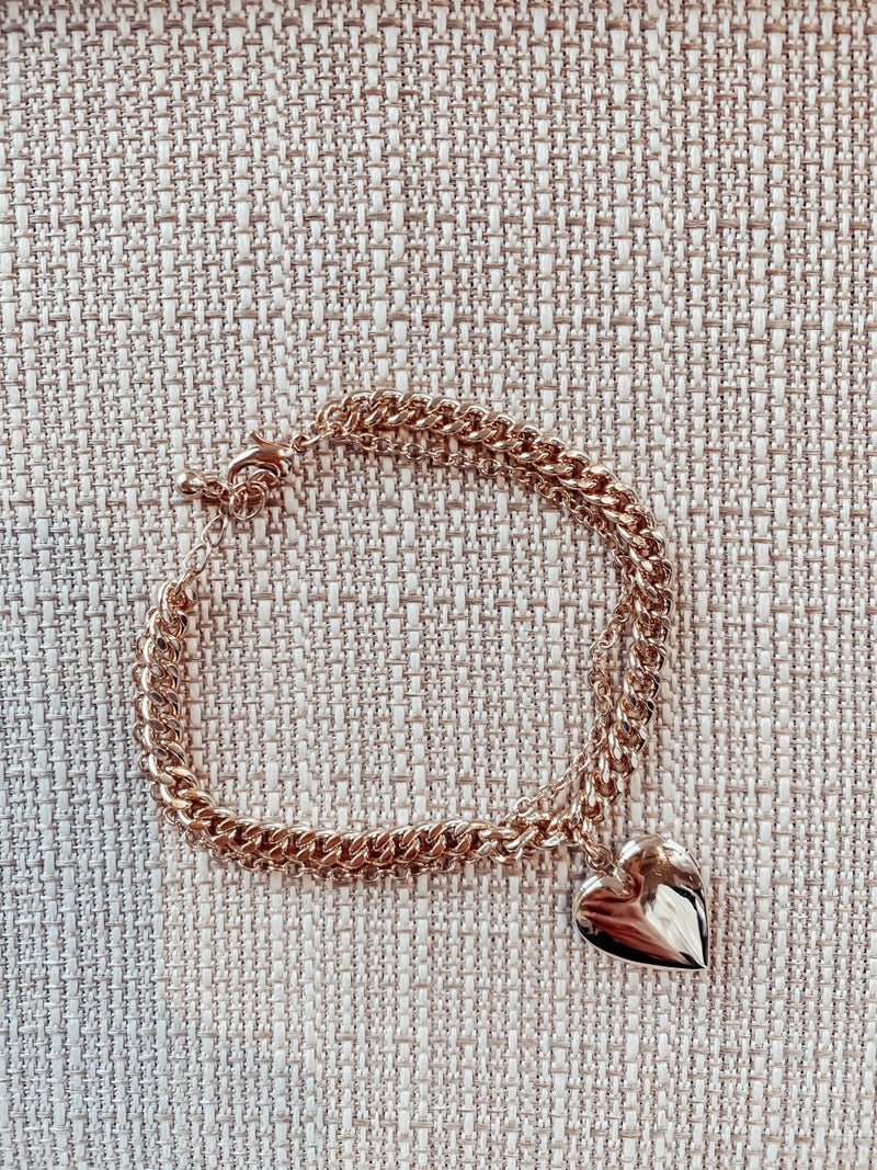 Layered Heart Locket Bracelet