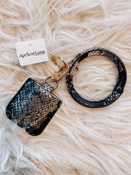 Wristlet Keychain with Sanitizer Bottle - Faux Black Snakeskin