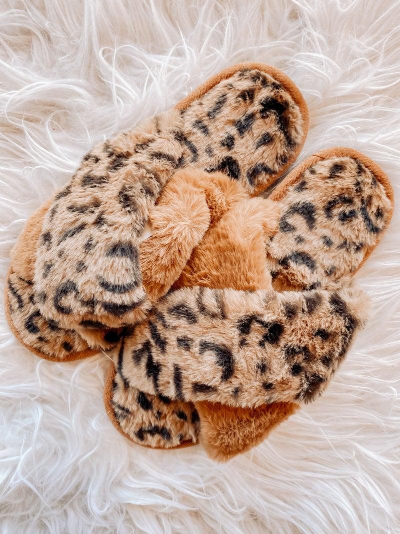 Brown Faux Leopard Furry Criss-Cross