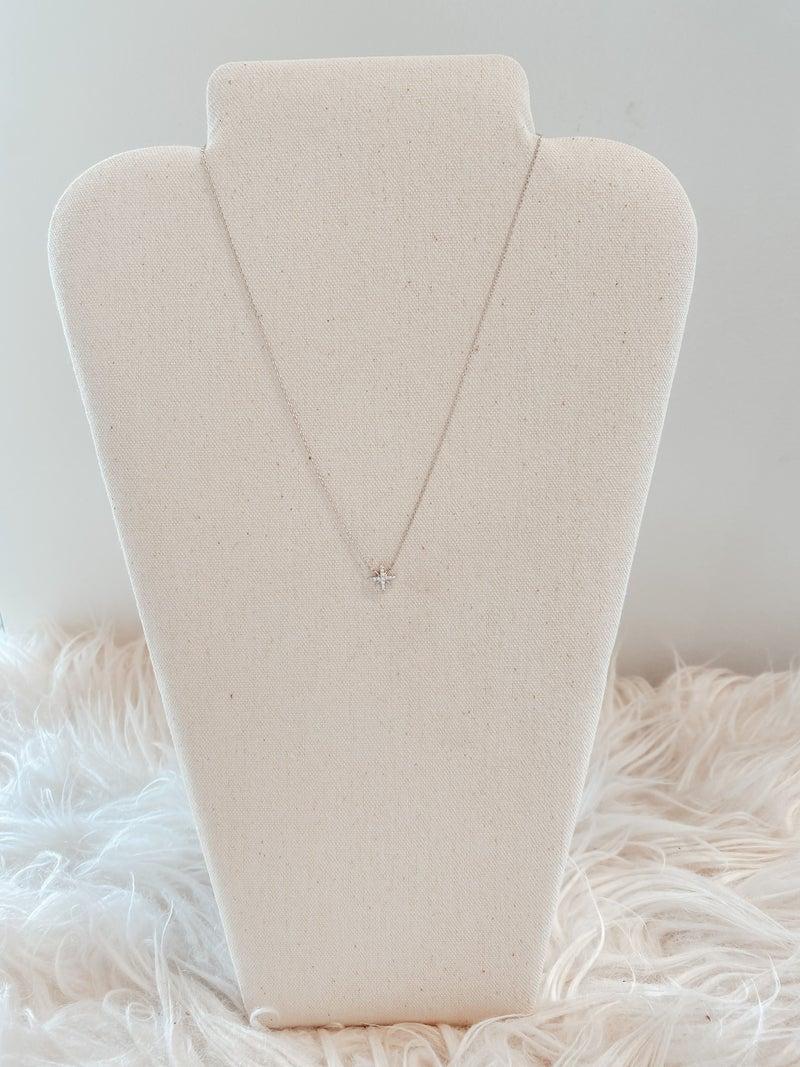 Rhinestone North Star Pendant Necklace - Silver